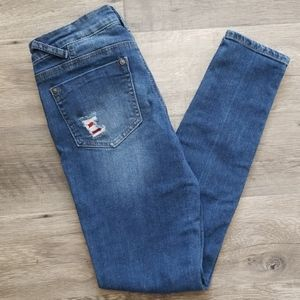 Vanilla Star Buffalo Check Distressed Skinny Jeans
